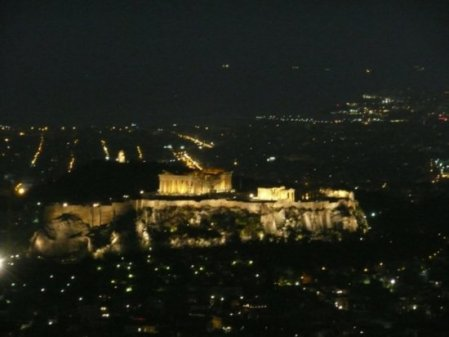 Mount Lycabettus' view of the Parthenon at night by Joseph_hillier