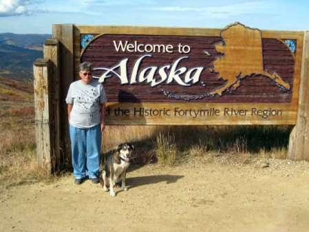 Neeterb and her dog in Alaska