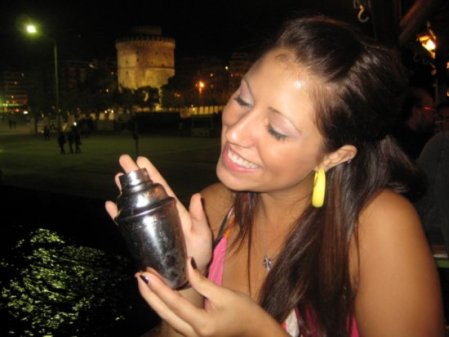 Jhdavis' friend Allie, with her drink on the party boat in Thessaloniki