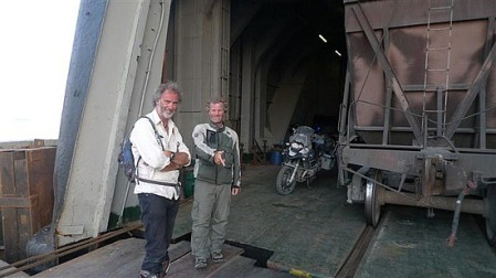 """Ricka leaving the """"ferry from hell"""" in Turkmenistan"""