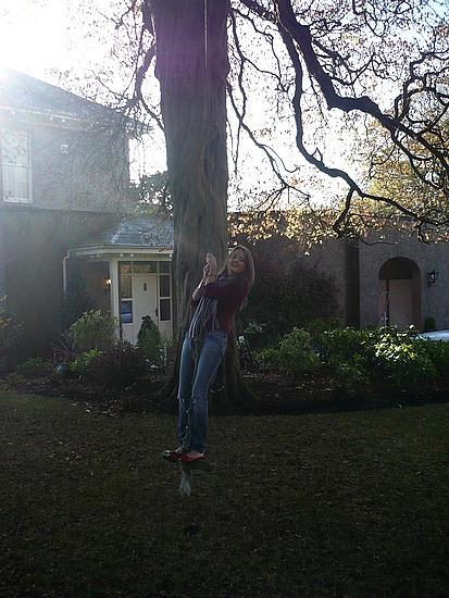 Neason's friend, Elaine hanging around in Stewartstown, Northern Ireland