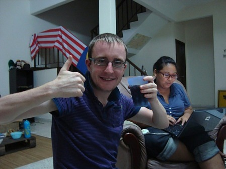 Stevewade enjoying a party in the suburbs of Kuala Lumpur