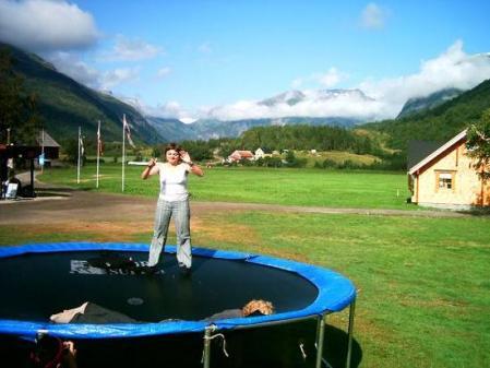 Twittg's friend Elisa on a trampoline in Norway