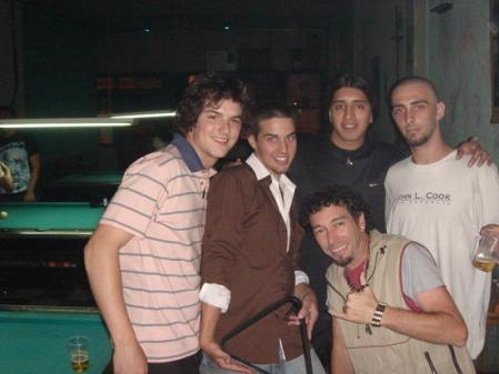 Curtisejtaylor meeting Brazilians at a pool hall in Buenos Aires